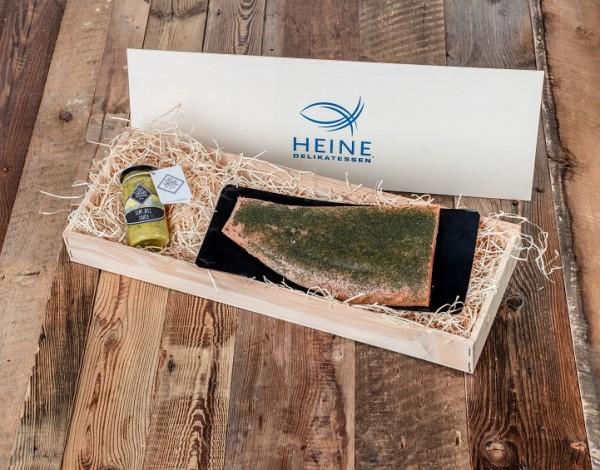 Holsteiner Premium Lachs, graved in Holzkiste